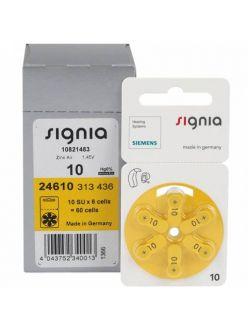 Батарейки к слуховым аппаратам № 10, SIGNIA (6 штук)